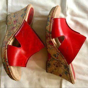 BOC Eddie II platform leather & cork wedge heels 7